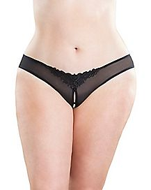 Plus Size Pearl Crotchless Thong Panties - Black
