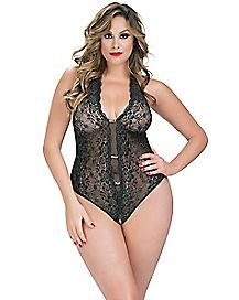Plus Size Lace Rhinestone Crotchless Teddy