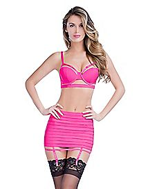 Rhinestone Bra and Panties Set with Garters - Pink