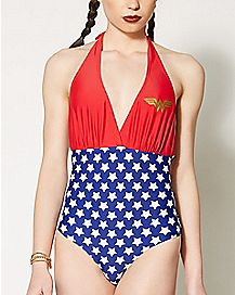 Wonder Woman Halter One Piece Swimsuit - DC Comics