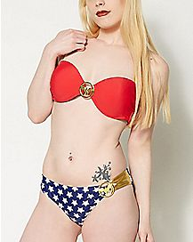 DC Comics Wonder Woman Two-Piece Bandeau Bikini Swimsuit