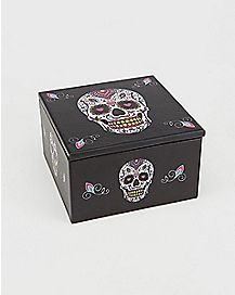 Sugar Skull Day of the Dead Mirror Storage Box