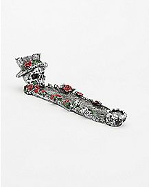Top Hat Skull Rose Incense Burner