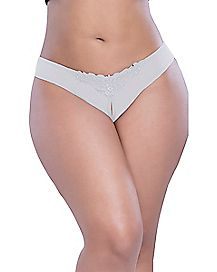 Plus Size Pearl Crotchless Thong Panties - White
