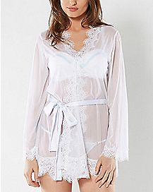 Sheer Eyelash Lace Robe and G-String Panties Set