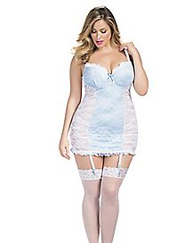Plus Size Bridal Carolina Lace Chemise and G-String Set