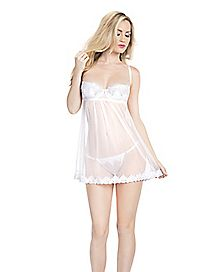 Bridal Crystal Embroidered Babydoll and G-String