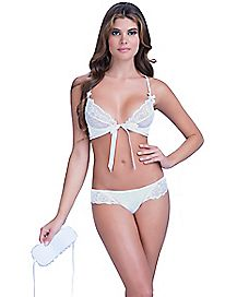 Soft Lace Front Tie Bra and Panty Set - White