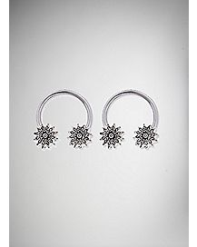 Mandala Horseshoe Ring Set - 14 Gauge