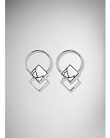 White Cabochon Nipple Rings - 14 Gauge