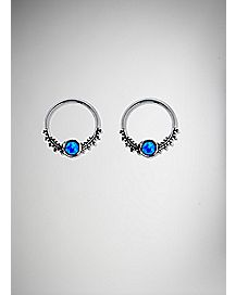 Opal-Effect Captive Nipple Rings - 14 Gauge
