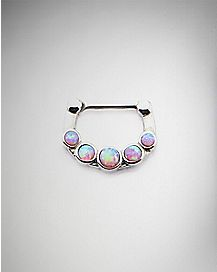 Pink Opal-Effect Clicker Septum Nose Ring - 14 Gauge