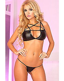 Faux Leather Cage Bra And G-String Panties Set