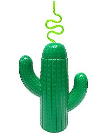Molded Cactus Cup With Straw 12 oz