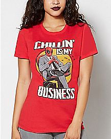 Chillin' Is My Business Deadpool T Shirt - Marvel Comics