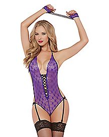 Geo Lace Teddy with Wrist Restraints
