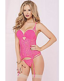 Modern Love Lace Bustier and Thong Panties Set