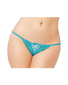 Front Lace Up Thong Panties - Blue