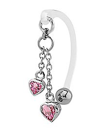 Heart Dangle Bioflex Clit Ring - 14 Gauge