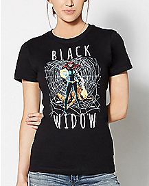 Black Widow Web T Shirt - Marvel Comics