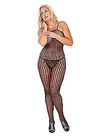 Plus Size Crochet Net Crotchless Bodystocking