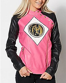 Faux Leather Pink Power Rangers Moto Jacket