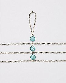 Three Chain Shell Anklet - Blue