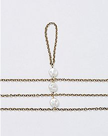 Three Chain Shell Anklet- White