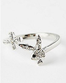 Cross and Playboy Bunny Ring