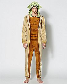 Adult Hooded Yoda Star Wars One-Piece Pajamas