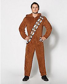 Adult Hooded Chewbacca Star Wars One-Piece Pajamas