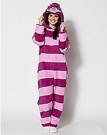 Adult Hooded Cheshire Cat One-Piece Pajamas - Alice in Wonderland