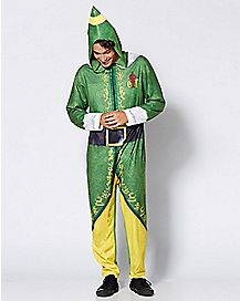Adult Hooded Elf One-Piece Pajamas
