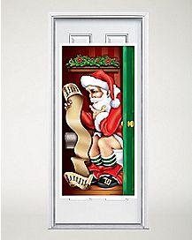 5 Ft Santa Bathroom Door Cover - Decorations
