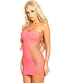 Single Shoulder Half Net Dress