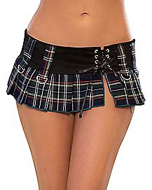 Lace Up Plaid Skirt Blue - Hustler