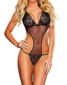 Lace and Mesh Cut Out Teddy
