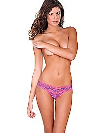 Lace Crotchless V-Thong Panties - Purple