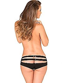 Strappy Back Crotchless Boyshort Panties