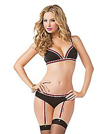 Triangle Bra and Gartered Panties Set