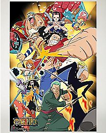Attacking Group One Piece Poster