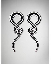 Black and White Glass Spiral Tapers