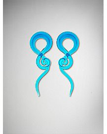 Aqua Blue Glass Spiral Tapers