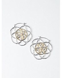 Circle Flower Hoop Earrings