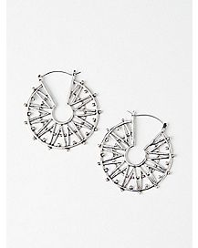 Circular Spike Hoop Earrings