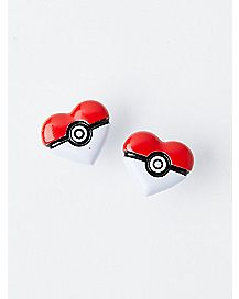 Heart Pokeball Stud Earrings
