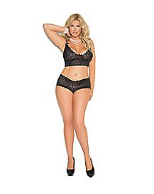 Plus Size Lace Bralette and Panties Set - Black
