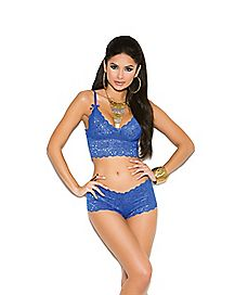 Plus Size Lace Bralette and Panties Set - Blue