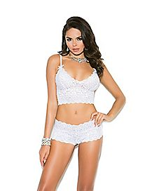 Plus Size Lace Bralette and Panties Set - White
