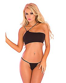 Black Side Strap Bra and Panty Set